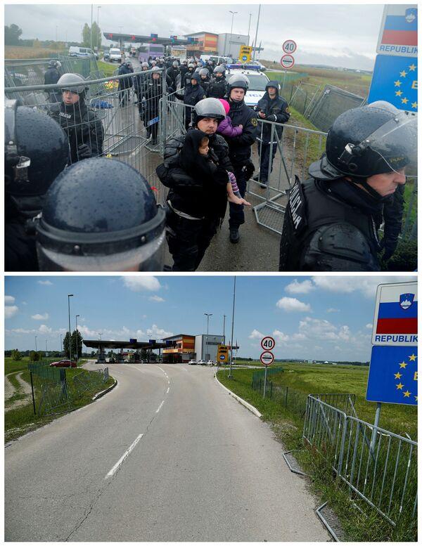Policjanci kontrolują przedostawanie się emigrantów z Chorwacji na Słowenię w październiku 2015 i to samo miejsce w maju 2016. то же место в мае 2016 - Sputnik Polska