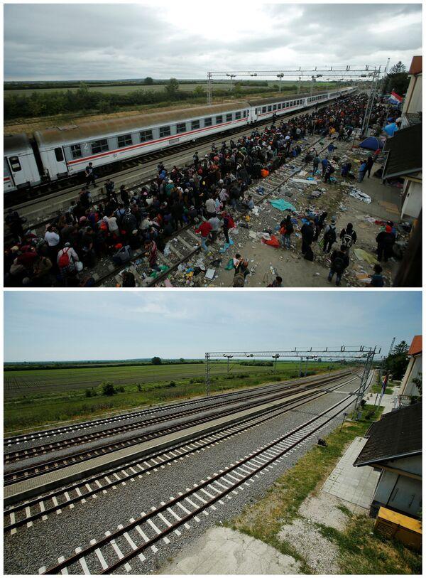 Emigranci na stacji kolejowej Tovarnik  w Chorwacji we wrześniu 2015 roku i to samo miejsce w maju 2016. - Sputnik Polska