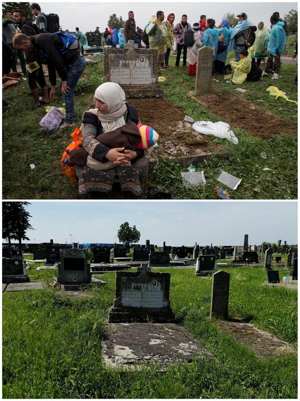 Emigranci na cmentarzu przy stacji kolejowej Tovarnik w Chorwacji we wrześniu 2015 roku i to samo miejsce w maju 2016. - Sputnik Polska