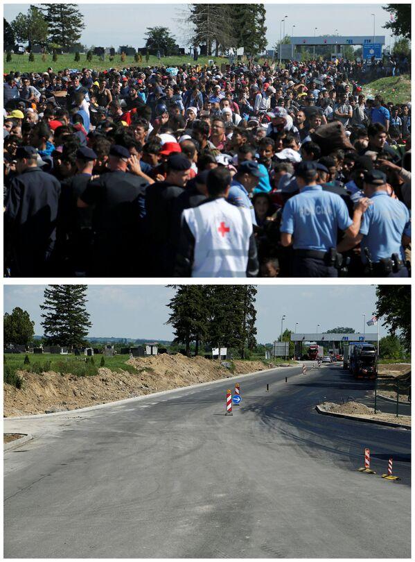 Policjanci i emigranci czekający na autobus na granicy między Serbią i Chorwacją we wrześniu 2015 i to samo miejsce w maju 2016. - Sputnik Polska