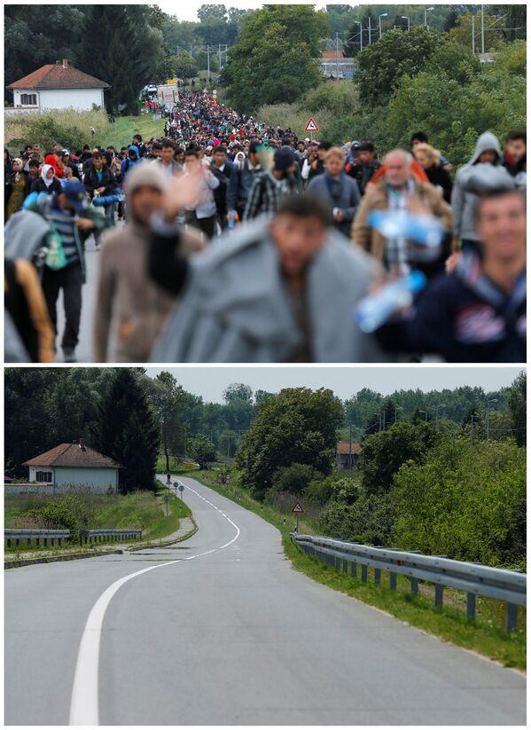 Emigranci idą w kierunku granicy chorwacko-węgierskiej po przybyciu pociągiem na stację kolejową Botovo we wrześniu 2015 i to samo miejsce w maju 2016. - Sputnik Polska