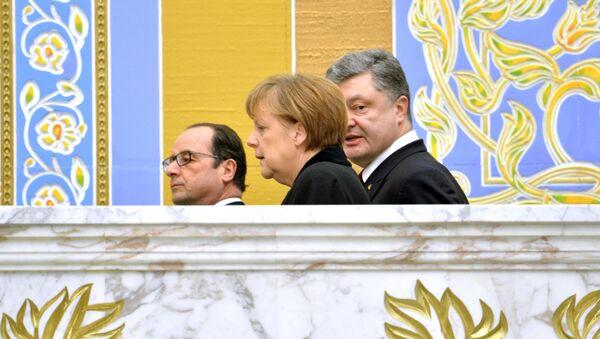 Liderzy Niemiec, Francji i Ukrainy w Mińsku. - Sputnik Polska