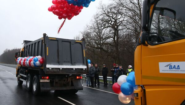 Otwarcie mostu na trasie Kaliningrad - Mamonowo - granica RP w 2014 roku. - Sputnik Polska