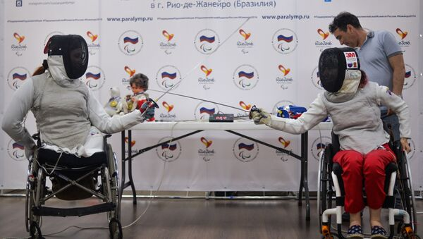 Kseniya Ovsyannikova i Anna Petukhova, członkinie rosyjskiej reprezentacji paraolimpijskiej, na konferencji prasowej prze Paraolimpiadą w Rio de Janeiro - Sputnik Polska