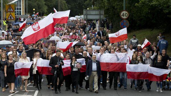 Polska emigracja w Harlow w trakcie marszu pamięci tydzień po morderstwie Arkadiusza Jóźwika w Harlow, Essex, Londyn, 3 września 2016 - Sputnik Polska