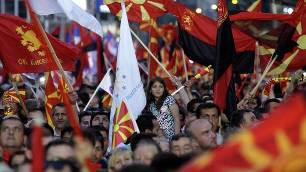 Akcje protestacyjne w Skopje, w Macedonii 18 maja 2015 - Sputnik Polska