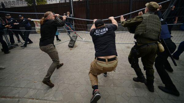 Protesty przed ambasadą Rosji w Kijowie. Zdjęcie archiwalne - Sputnik Polska
