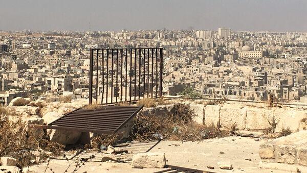 Widok z Cytadeli w Aleppo na zajęte przez bojowników wschodnie dzielnice miasta - Sputnik Polska