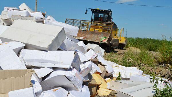Niszczenie produktów objętych sankcjami w obwodzie biełgorodzkim - Sputnik Polska