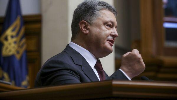 Prezydent Ukrainy Petro Poroszenko na inauguracji 5. sesji Rady Najwyższej Ukrainy - Sputnik Polska