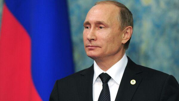 Prezydent Rosji Władimir Putin na konferencji prasowej w Paryżu - Sputnik Polska