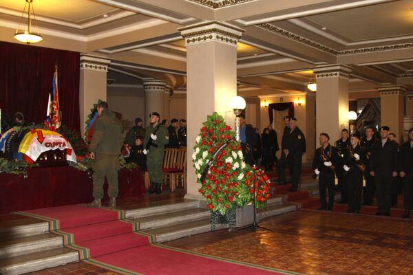 Pogrzeb dowódcy powstańców DRL Arsena Pawłowa (Motoroli) w budynku Donieckiego Państwowego Teatru Akademickiego Opery i Baletu. - Sputnik Polska