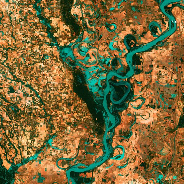 Widok na rzekę Mississippi w Ameryce Północnej z kosmosu. - Sputnik Polska