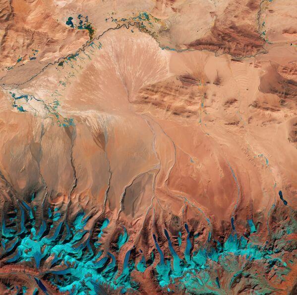 Zdjęcie Wyżyny Tybetańskiej wykonane z kosmosu. - Sputnik Polska