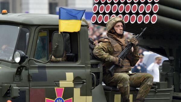 """Wieloprowadnicowa wyrzutnia rakietowa BM-21 """"Grad"""" podczas parady wojskowej w Kijowie - Sputnik Polska"""