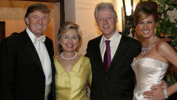 Bill i Hillary Clintonowie na ślubie Donalda i Melanii Trumpów - Sputnik Polska
