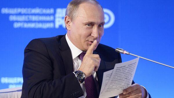 Prezydent Rosji Władimir Putin na forum biznesowym Biznesowa Rosja - Sputnik Polska