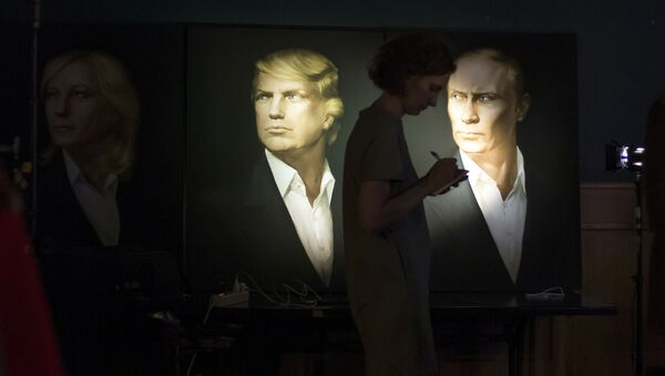 Portrety Trumpa i Putina w pubie Union Jack w Moskwie - Sputnik Polska