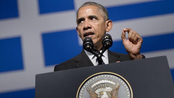 Prezydent USA Barack Obama podczas wizyty w Atenach - Sputnik Polska