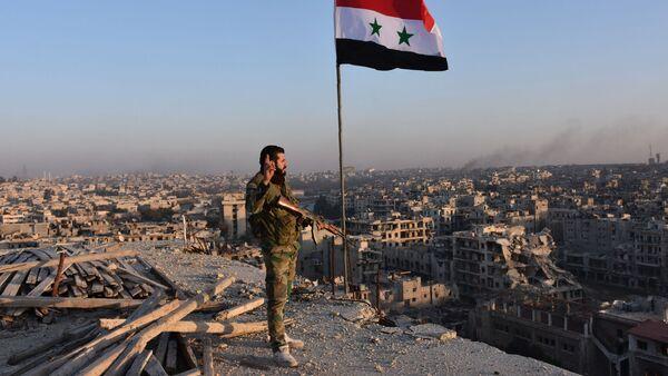 Żołnierz syryjskiej armii przed panoramą miasta Aleppo - Sputnik Polska