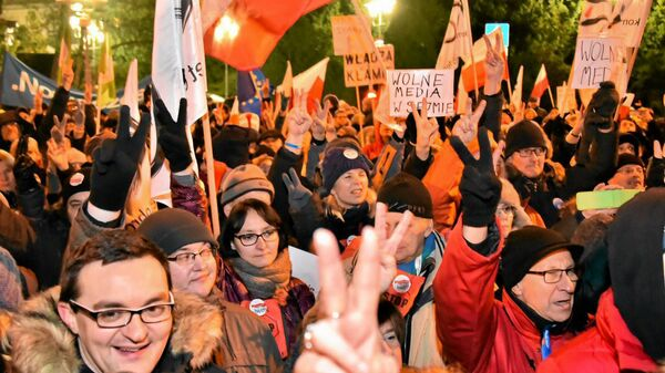 Protest przed budynkiem polskiego Sejmu - Sputnik Polska