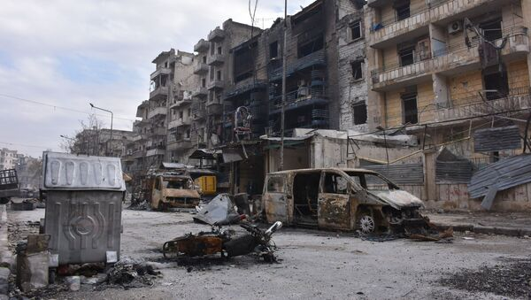 Zburzone domy w wyzwolonym Aleppo - Sputnik Polska