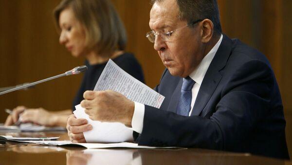 Minister spraw zagranicznych Rosji Siergiej Ławrow na konferencji prasowej - Sputnik Polska