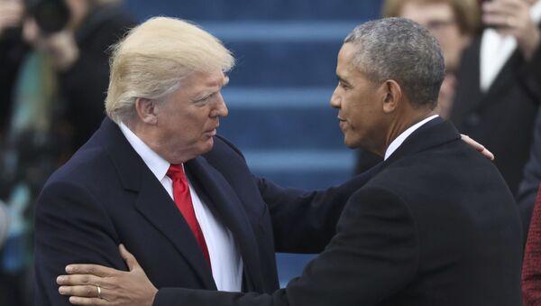 Donald Trump i Barack Obama przed rozpoczęciem ceremonii inauguracji - Sputnik Polska