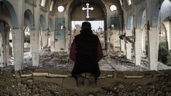 Prowincja Al-Hasake, kościół zniszczony przez terrorystów PI - Sputnik Polska