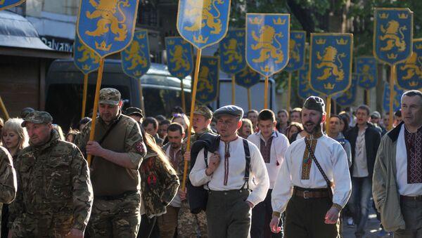 Marsz z okazji rocznicy utworzenia dywizji SS Galicja, Lwów - Sputnik Polska