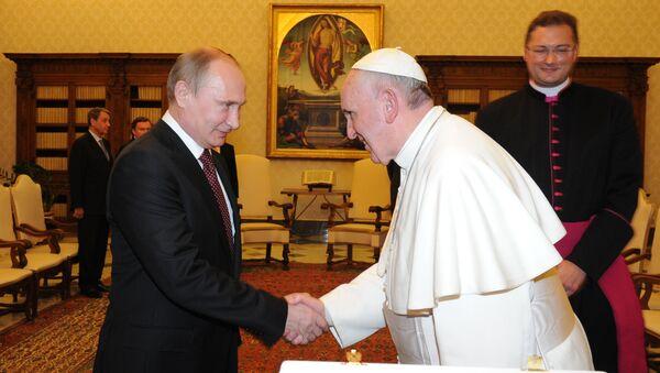 Prezydent FR Władimir Putin i papież Franciszek - Sputnik Polska