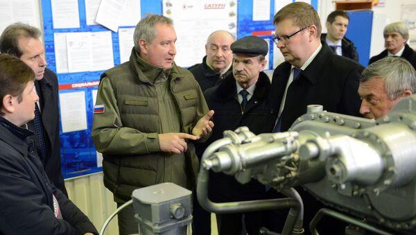 Wicepremier Rosji Dmitrij Rogozin w czasie wizytacji zakładu Saturn w Rybińsku - Sputnik Polska