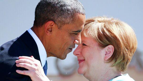 Kanclerz Niemiec Angela Merkel i prezydent USA Barack Obama na szczycie G7 w Bawarii - Sputnik Polska