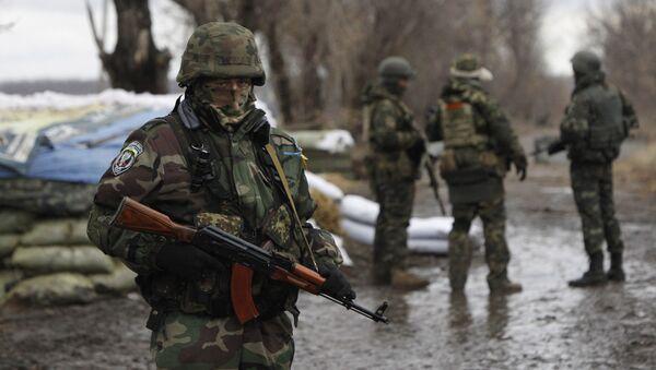 Ukraińscy wojskowi w punkcie kontrolnym w obwodzie donieckim. Zdjęcie archiwalne - Sputnik Polska