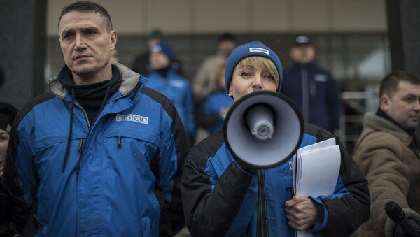 Demonstracja mieszkańców Donbasu przeciwko nieobiektywnej pracy misji OBWE w Donbasie - Sputnik Polska
