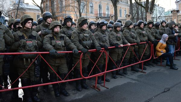Zabezpieczenie akcji protestacyjnych z okazji rocznicy Majdanu w Kijowie - Sputnik Polska
