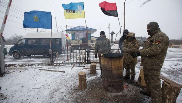 Uczestnicy blokady handlowej Donbasu, 14 lutego 2017 - Sputnik Polska