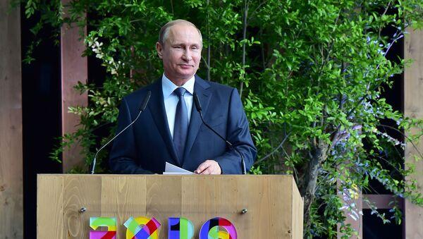 Prezydent Rosji Władimir Putin w Mediolanie na światowej wystawie EXPO, 10 czerwca 2015 - Sputnik Polska