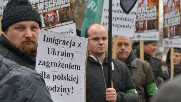 Protest organizacji narodowych przeciwko zwiększeniu liczby ukraińskich migrantów w Polsce. - Sputnik Polska