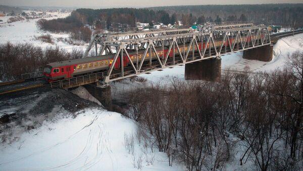 Pociąg podąża jednym z odgałęzień Kolei Transsyberyjskiej w pobliżu Nowosybirska - Sputnik Polska
