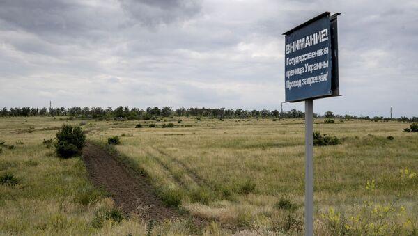 Znak ostrzegawczy na granicy rosyjsko-ukraińskiej - Sputnik Polska