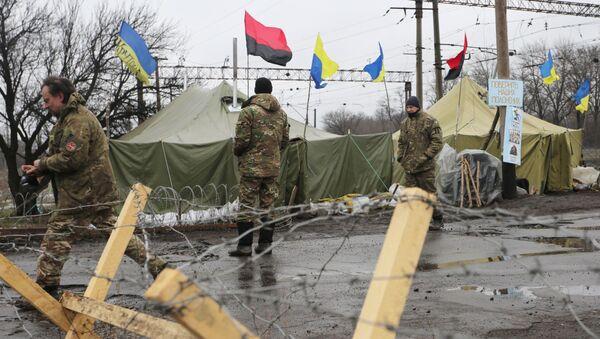 Uczestnicy blokady Donbasu, obwód doniecki - Sputnik Polska