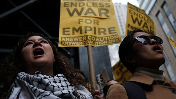 Akcje protestu przeciwko agresji USA na Syrię. Nowy Jork - Sputnik Polska