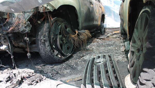 Spalony samochód OBWE - Sputnik Polska