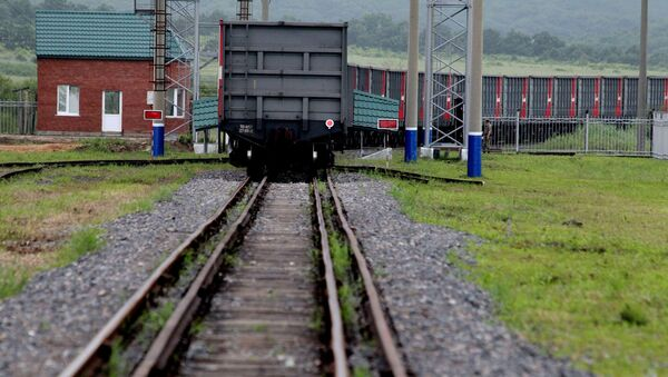 Pociąg towarowy na granicy chińsko-rosyjskiej - Sputnik Polska
