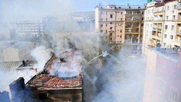 Тушение пожара в центре Москвы - Sputnik Polska
