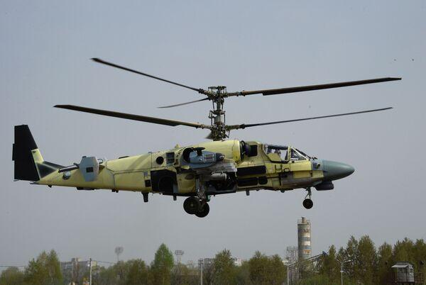 Śmigłowiec Ka-52 Aligator w czasie lotu pokazowego w Zakładzie Lotniczym Progress w Kraju Nadmorskim. - Sputnik Polska