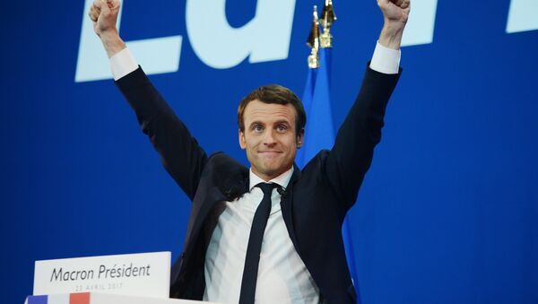 Emmanuel Macron, French presidential candidate and leader of the movement En Marche!, during a news conference following the first round of the election. - Sputnik Polska