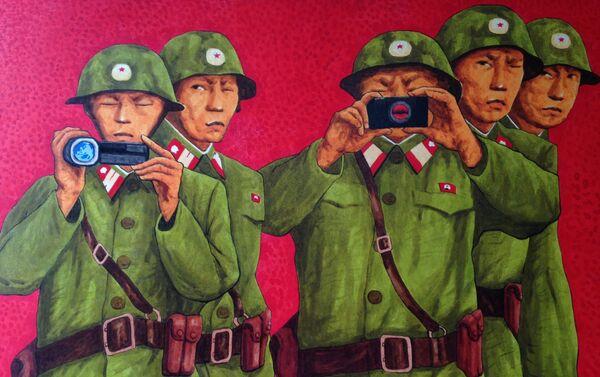 Praca północnokoreańskiego artysty Song Byeoka - Sputnik Polska