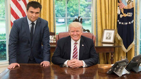 Minister spraw zagranicznych Ukrainy Paweł Klimkin i prezydent USA Donald Trump na spotkaniu w Białym Domu - Sputnik Polska